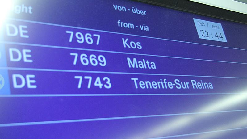 Das Display im Airport weist den Weg