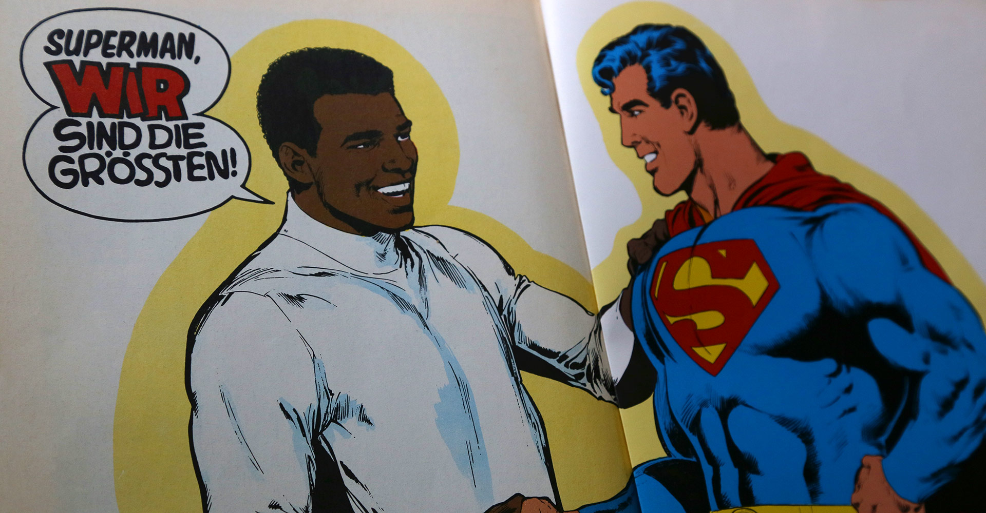 "Schlussbild aus dem Comic ""Superman gegen Muhammad Ali"", EHAPA-Verlag, © DC-Comics 1978"