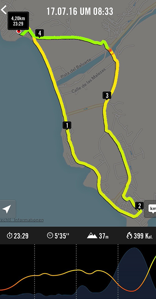 Lauf-App mit Streckenkarte: 4,2 Kilometer im Valle Gran Rey